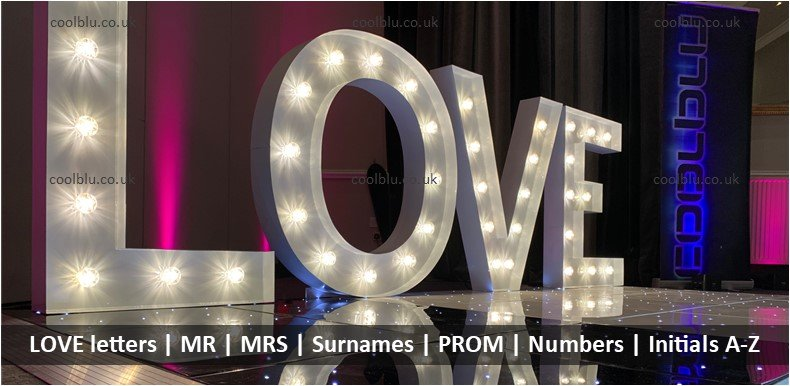 LOVE letter hire | MR | MRS | LED  Surnames | LED Initials | Numbers